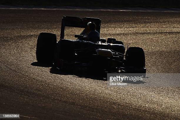 Sebastian Vettel of Germany and Red Bull Racing drives the new Red Bull Racing RB8 during day three of Formula One winter testing at the Circuito de...