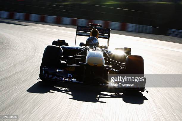 Sebastian Vettel of Germany and Red Bull Racing during a filming day prior to Formula One winter testing at the Circuit De Catalunya on February 24,...