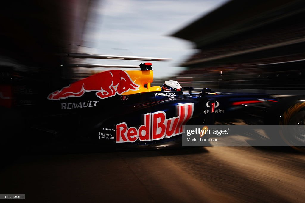 Sebastian Vettel of Germany and Red Bull Racing exits his garage to drive during qualifying for the Spanish Formula One Grand Prix at the Circuit de Catalunya on May 12, 2012 in Barcelona, Spain.