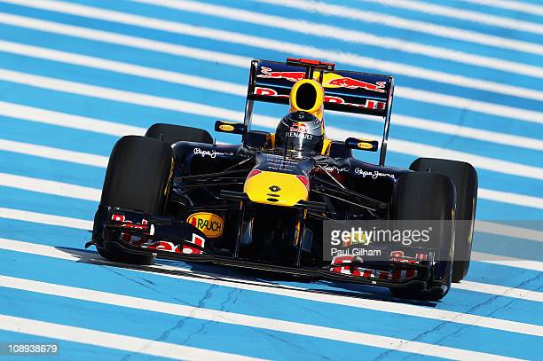 Sebastian Vettel of Germany and Red Bull Racing in action during a Red Bull filming day prior to F1 testing at the Circuito De Jerez on February 8...
