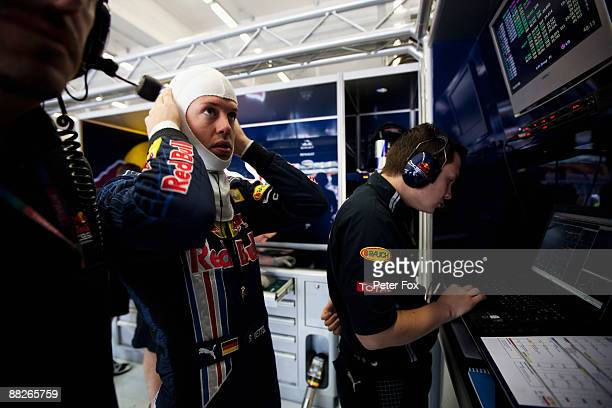 Sebastian Vettel of Germany and Red Bull Racing is seen during practice for the Turkish Formula One Grand Prix at Istanbul Park on June 5 in...