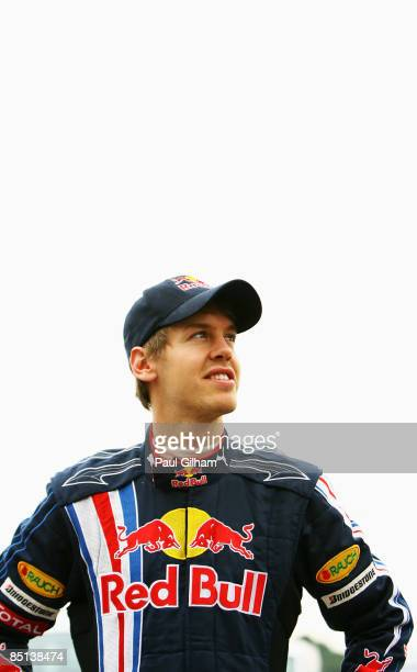 Sebastian Vettel of Germany and Red Bull Racing looks on during Formula One winter testing at the Ricardo Tormo circuit on February 26, 2009 in...