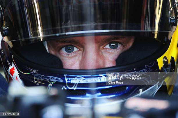 Sebastian Vettel of Germany and Red Bull Racing prepares to drive during the final practice session prior to qualifying for the European Formula One...