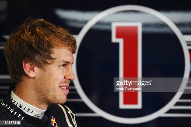 Sebastian Vettel of Germany and Red Bull Racing prepares to drive during the final practice session prior to qualifying for the Abu Dhabi Formula One...