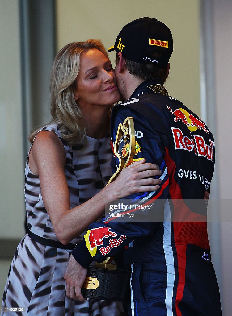 Sebastian Vettel of Germany and Red Bull Racing receives the winners trophy from Charlene Wittsock, girlfriend of Prince Albert II of Monaco, after the Monaco Formula One Grand Prix at the Monte Carlo Circuit on May 29, 2011 in Monte Carlo, Monaco.