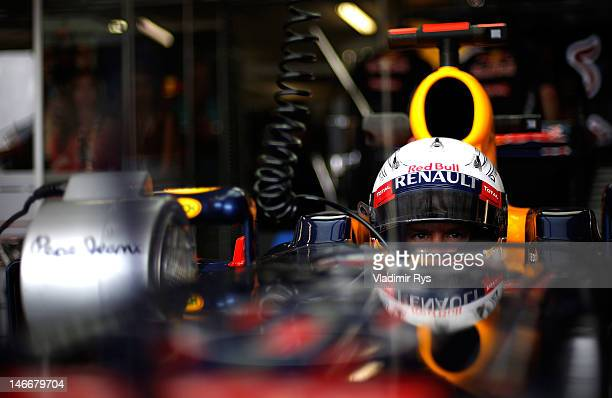 Sebastian Vettel of Germany and Red Bull Racing sits in his car in the garage during practice for the European Grand Prix at the Valencia Street...
