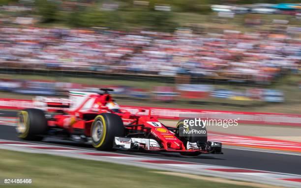 Sebastian Vettel of Germany and Scuderia Ferrari driver goes during the race at Pirelli Hungarian Formula 1 Grand Prix on Jul 30 2017 in Mogyoród...