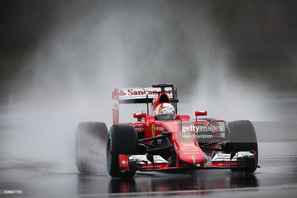 Sebastian Vettel of Germany and Scuderia Ferrari drives during wet weather tyre testing at Circuit Paul Ricard on January 26, 2016 in Le Castellet, France.