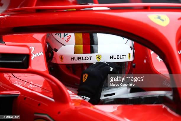 CATALUNYA MONTMELò BARCELONA SPAIN Sebastian Vettel of Germany and Scuderia Ferrari during day four of F1 Winter Testing