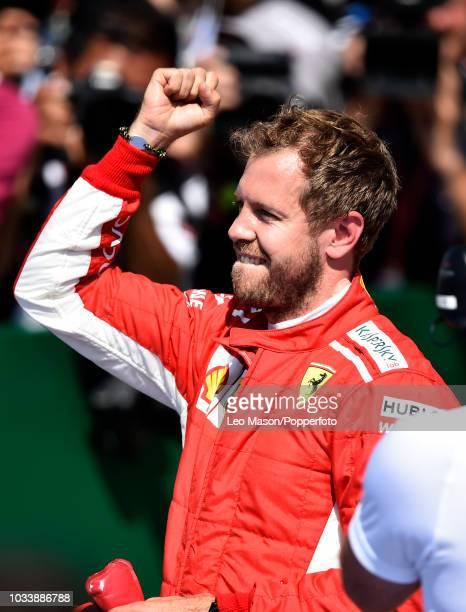 Sebastian Vettel of Germany and Scuderia Ferrari F1 celebrates winning the British F1 Grand Prix at Silverstone Circuit on July 8 2018 in Northampton...