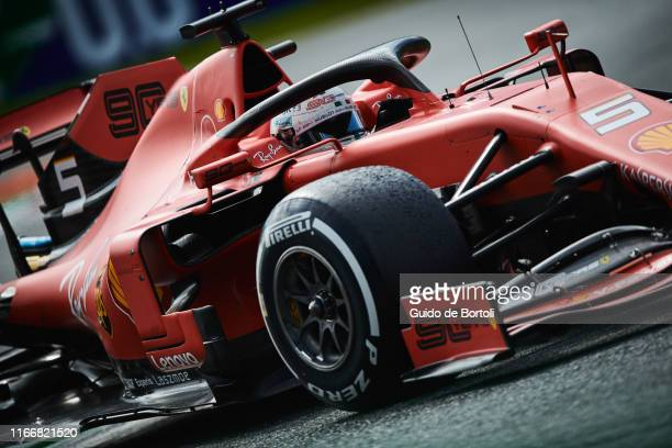 Sebastian Vettel of Germany and Scuderia Ferrari in action during the Formula 1 Grand Prix of Italy at Autodromo di Monza on September 8 2019 in...