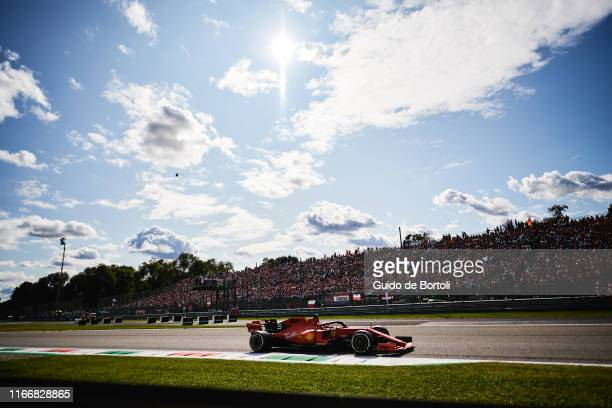 Sebastian Vettel of Germany and Scuderia Ferrari in action during the Formula 1 Grand Prix of Italy at Autodromo di Monza on September 8, 2019 in...