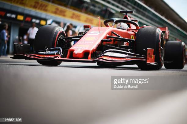 Sebastian Vettel of Germany and Scuderia Ferrari on his way out of the pits during the Formula 1 Grand Prix of Italy at Autodromo di Monza on...