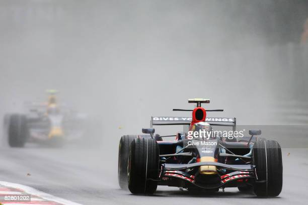 Sebastian Vettel of Germany and Scuderia Toro Rosso drives on his way to taking pole position during qualifying for the Italian Formula One Grand...