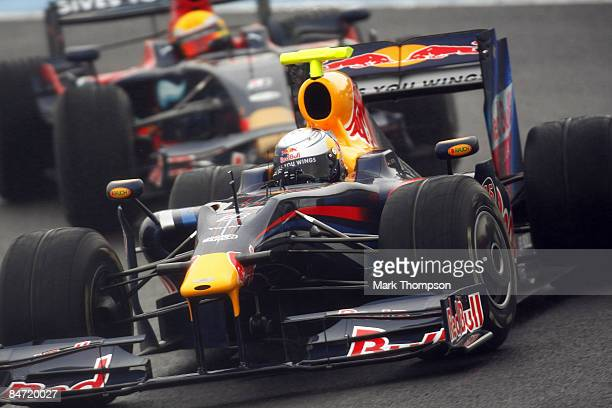 Sebastian Vettel of Germany and team Red Bull Racing drives the new RB5 during formula one testing at the Circuito de Jerez on February 10 2009 in...
