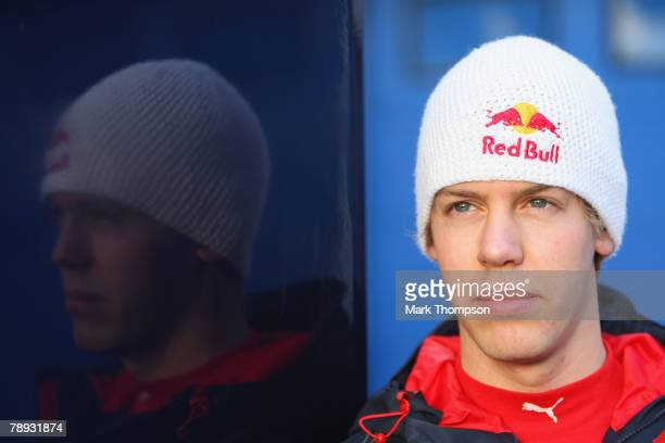 Sebastian Vettel of Germany and Torro Rosso in the pits during Formula One Testing at the Circuito de Jerez racetrack on January 14 2008 in Jerez De...
