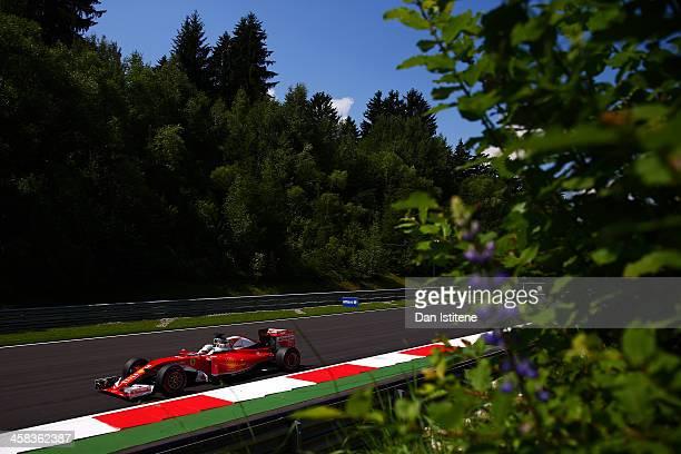 Sebastian Vettel of Germany drives the Scuderia Ferrari SF16H Ferrari 059/5 turbo during final practice for the Formula One Grand Prix of Austria at...