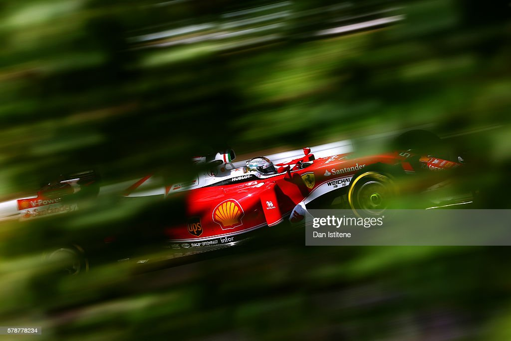 Sebastian Vettel of Germany drives the Scuderia Ferrari SF16-H Ferrari 059/5 turbo during practice for the Formula One Grand Prix of Hungary at Hungaroring on July 22, 2016 in Budapest, Hungary.
