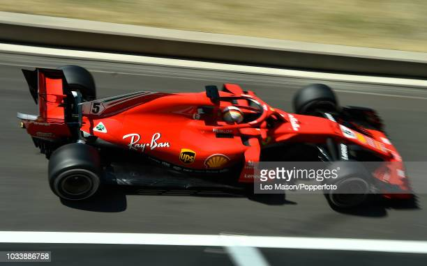 Sebastian Vettel of Germany driving a Scuderia Ferrari F1 during Friday open practice day British F1 Grand Prix at Silverstone Circuit on July 6 2018...