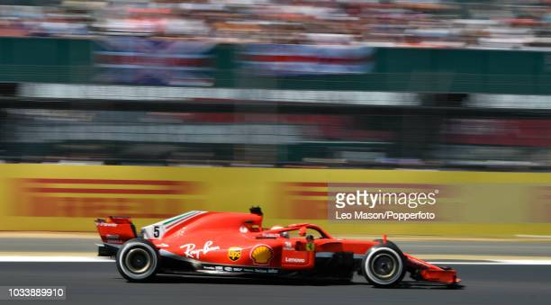 Sebastian Vettel of Germany driving a Scuderia Ferrari F1 during the British F1 Grand Prix at Silverstone Circuit on July 8 2018 in Northampton...
