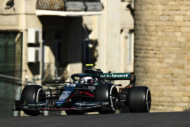 Sebastian Vettel of Germany driving the Aston Martin AMR21 Mercedes on track during practice ahead of the F1 Grand Prix of Azerbaijan at Baku City...