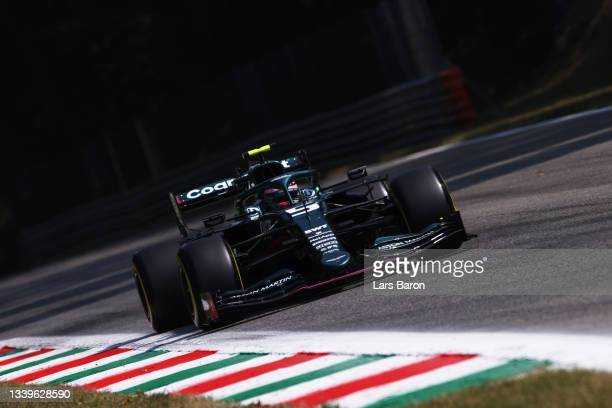 Sebastian Vettel of Germany driving the Aston Martin AMR21 Mercedes during practice ahead of the F1 Grand Prix of Italy at Autodromo di Monza on...