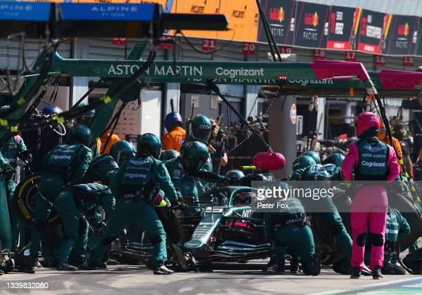 Sebastian Vettel of Germany driving the Aston Martin AMR21 Mercedes makes a pitstop during the F1 Grand Prix of Italy at Autodromo di Monza on...