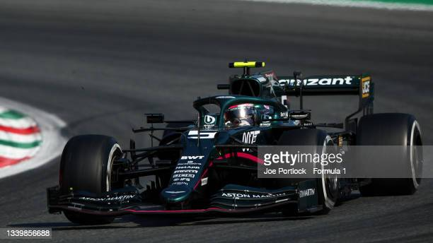 Sebastian Vettel of Germany driving the Aston Martin AMR21 Mercedes during the F1 Grand Prix of Italy at Autodromo di Monza on September 12, 2021 in...