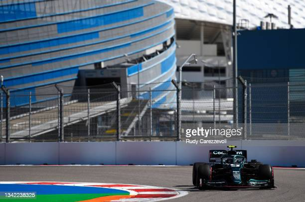 Sebastian Vettel of Germany driving the Aston Martin AMR21 Mercedes during practice ahead of the F1 Grand Prix of Russia at Sochi Autodrom on...