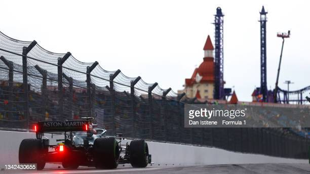 Sebastian Vettel of Germany driving the Aston Martin AMR21 Mercedes in the Pitlane during qualifying ahead of the F1 Grand Prix of Russia at Sochi...