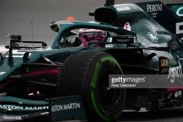 Sebastian Vettel of Germany driving the Aston Martin AMR21 Mercedes on track during qualifying ahead of the F1 Grand Prix of Russia at Sochi Autodrom...