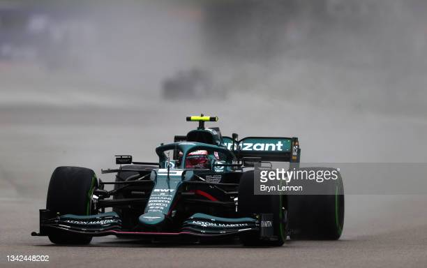 Sebastian Vettel of Germany driving the Aston Martin AMR21 Mercedes during qualifying ahead of the F1 Grand Prix of Russia at Sochi Autodrom on...