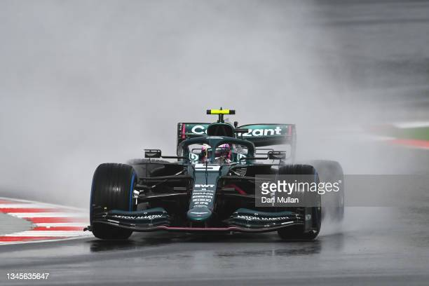 Sebastian Vettel of Germany driving the Aston Martin AMR21 Mercedes during final practice ahead of the F1 Grand Prix of Turkey at Intercity Istanbul...