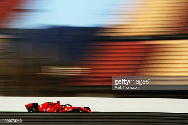 Sebastian Vettel of Germany driving the Scuderia Ferrari SF1000 on track during Day Two of F1 Winter Testing at Circuit de BarcelonaCatalunya on...