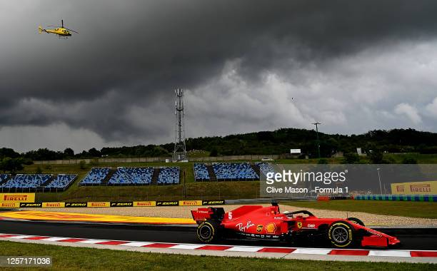 Sebastian Vettel of Germany driving the Scuderia Ferrari SF1000 on track during the Formula One Grand Prix of Hungary at Hungaroring on July 19 2020...
