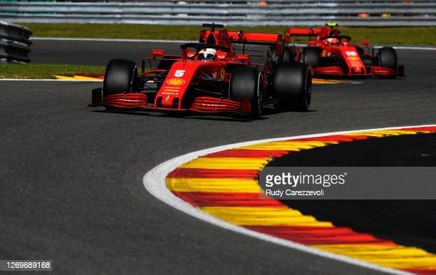 Sebastian Vettel of Germany driving the Scuderia Ferrari SF1000 on track during the F1 Grand Prix of Belgium at Circuit de Spa-Francorchamps on...