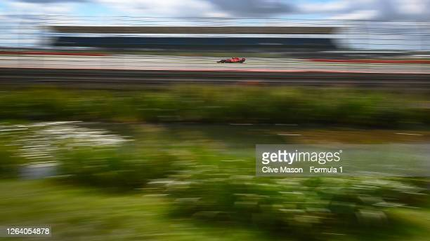 Sebastian Vettel of Germany driving the Scuderia Ferrari SF1000 during final practice for the F1 Grand Prix of Great Britain at Silverstone on August...