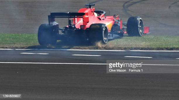 Sebastian Vettel of Germany driving the Scuderia Ferrari SF1000 spins during the F1 70th Anniversary Grand Prix at Silverstone on August 09 2020 in...