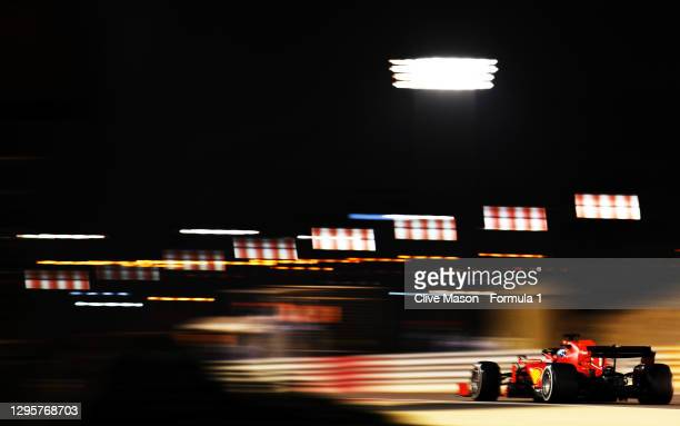 Sebastian Vettel of Germany driving the Scuderia Ferrari SF1000 during the F1 Grand Prix of Sakhir at Bahrain International Circuit on December 06,...
