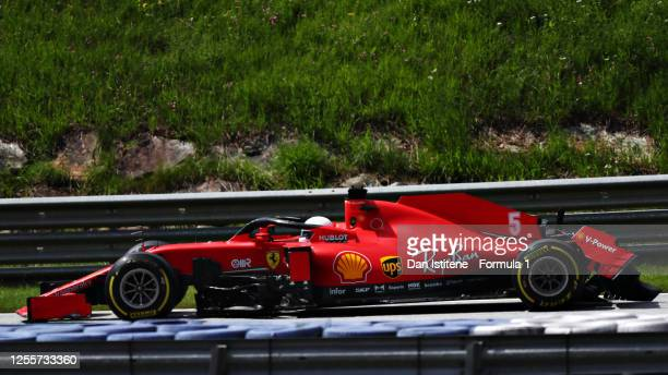 Sebastian Vettel of Germany driving the Scuderia Ferrari SF1000 with a broken rear wing during the Formula One Grand Prix of Styria at Red Bull Ring...