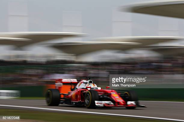 Sebastian Vettel of Germany driving the Scuderia Ferrari SF16H Ferrari 059/5 turbo on track during the Formula One Grand Prix of China at Shanghai...