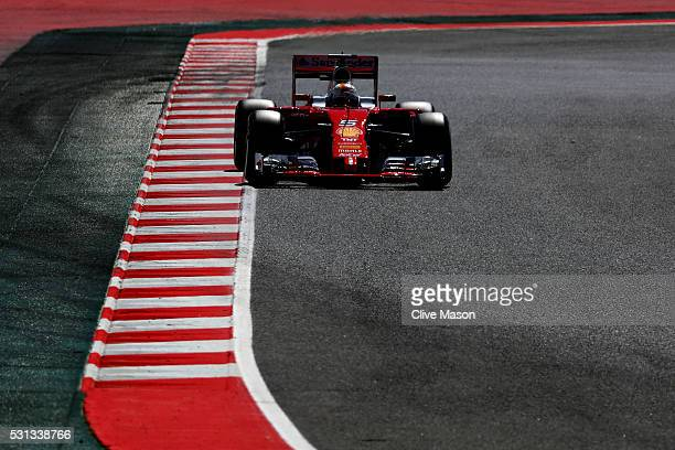 Sebastian Vettel of Germany driving the Scuderia Ferrari SF16H Ferrari 059/5 turbo on track during final practice ahead of the Spanish Formula One...