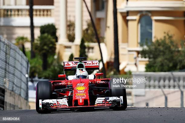 Sebastian Vettel of Germany driving the Scuderia Ferrari SF16H Ferrari 059/5 turbo on track during final practice ahead of the Monaco Formula One...