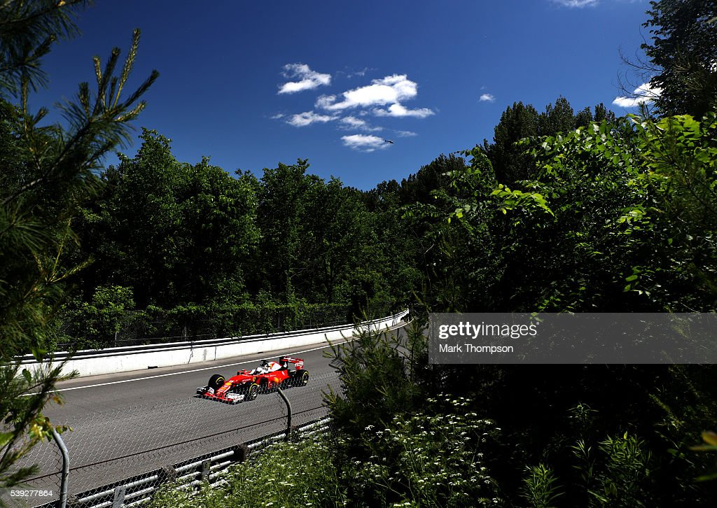 Sebastian Vettel of Germany driving the (5) Scuderia Ferrari SF16-H Ferraori 059/5 turbo (Shell GP) on track during practice for the Canadian Formula One Grand Prix at Circuit Gilles Villeneuve on June 9, 2016 in Montreal, Canada.