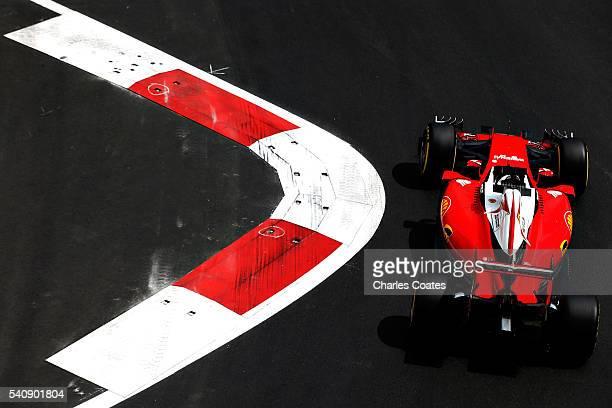 Sebastian Vettel of Germany driving the Scuderia Ferrari SF16H Ferrari 059/5 turbo on track during practice for the European Formula One Grand Prix...