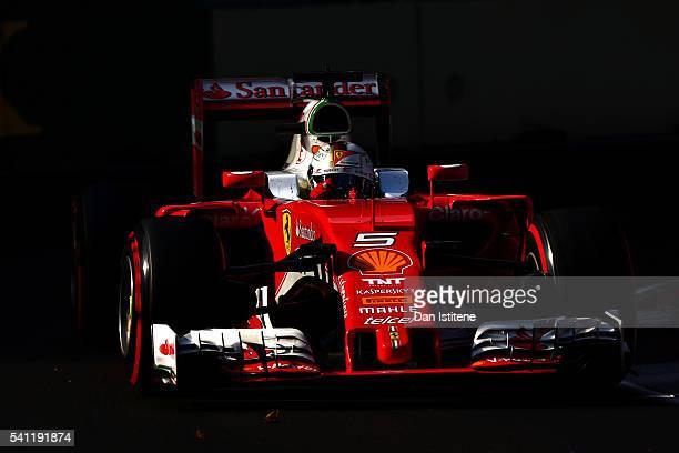 Sebastian Vettel of Germany driving the Scuderia Ferrari SF16-H Ferrari 059/5 turbo on track during the European Formula One Grand Prix at Baku City...