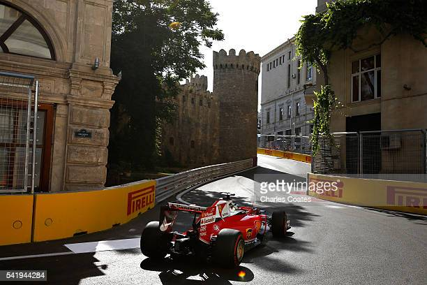 Sebastian Vettel of Germany driving the Scuderia Ferrari SF16H Ferrari 059/5 turbo on track during the European Formula One Grand Prix at Baku City...