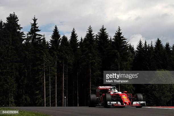 Sebastian Vettel of Germany driving the Scuderia Ferrari SF16-H Ferrari 059/5 turbo on track during practice for the Formula One Grand Prix of...