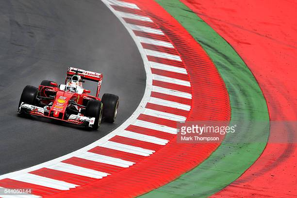 Sebastian Vettel of Germany driving the Scuderia Ferrari SF16H Ferrari 059/5 turbo on track during practice for the Formula One Grand Prix of Austria...