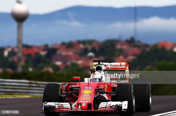 Sebastian Vettel of Germany driving the Scuderia Ferrari SF16H Ferrari 059/5 turbo on track during practice for the Formula One Grand Prix of Hungary...